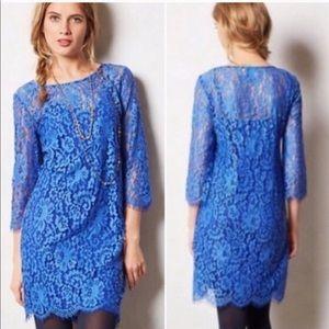 Anthropologie HD In Paris Blue Lace Dress w/ slip